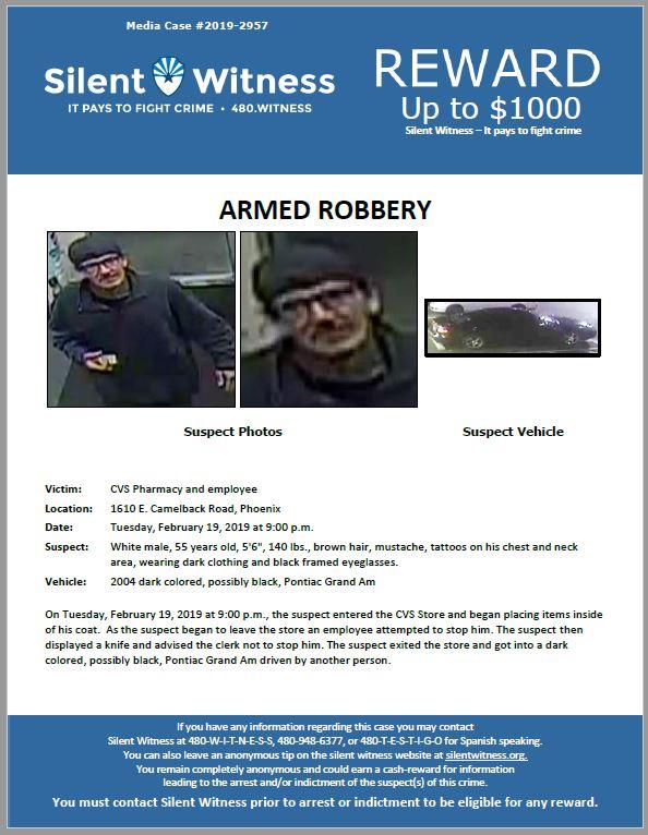 Armed Robbery / CVS / 1610 E. Camelback Road, Phoenix