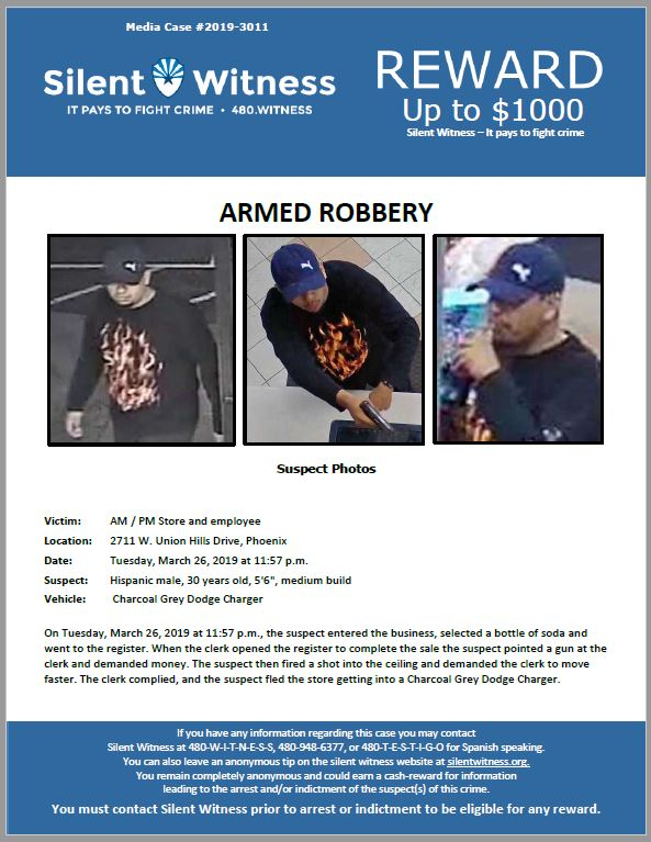 Armed Robbery / AM / PM Store / 2711 W. Union Hills Drive