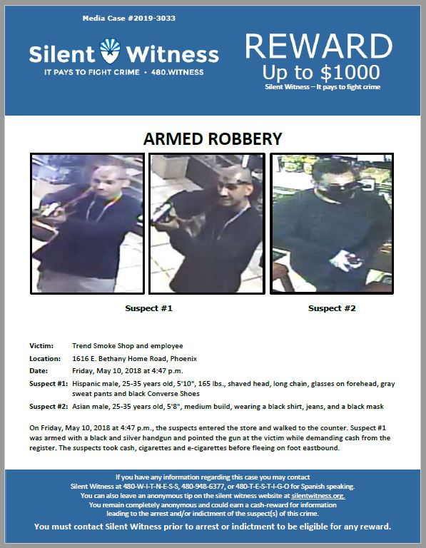 Armed Robbery / Trend Smoke Shop / 1616 E. Bethany Home Road, Phoenix