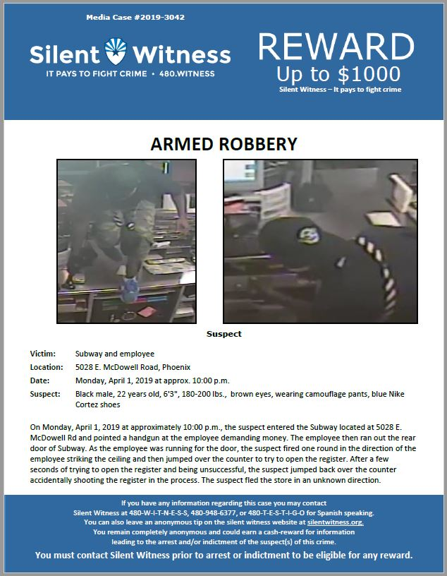 Armed Robbery / Subway 5028 E. McDowell Road