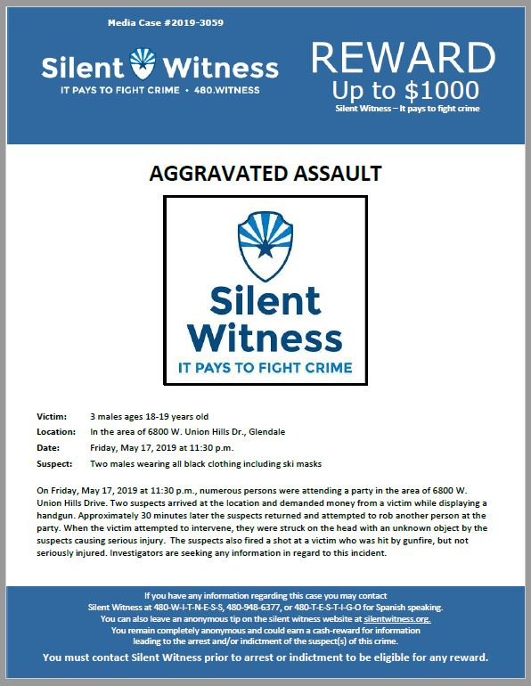 Aggravated Assault / In the area of 6800 W. Union Hills Dr., Glendale