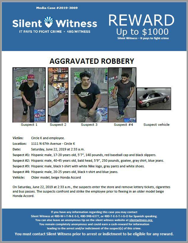 Aggravated Robbery / Circle K / 1111 N 67th Avenue