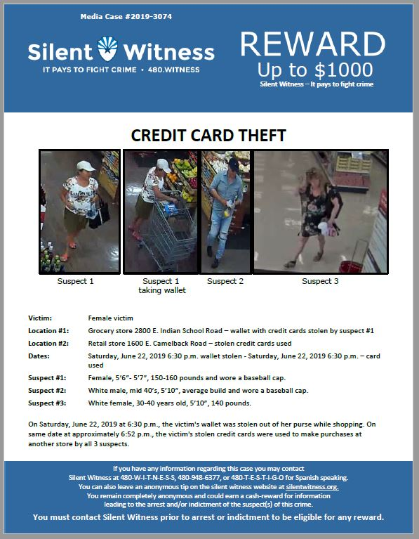 Credit Card Theft / Target Store / 1600 E. Camelback Road