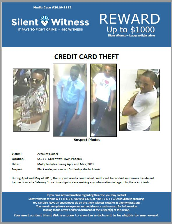 Credit Card Theft / 6501 E. Greenway Pkwy, Phoenix