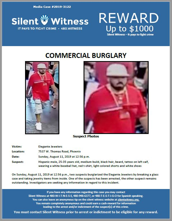 Commercial Burglary / Elegante Jewelers / 7537 W. Thomas Road