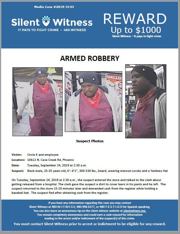 Armed Robbery / Circle K / 10612 N. Cave Creek Rd, Phoenix