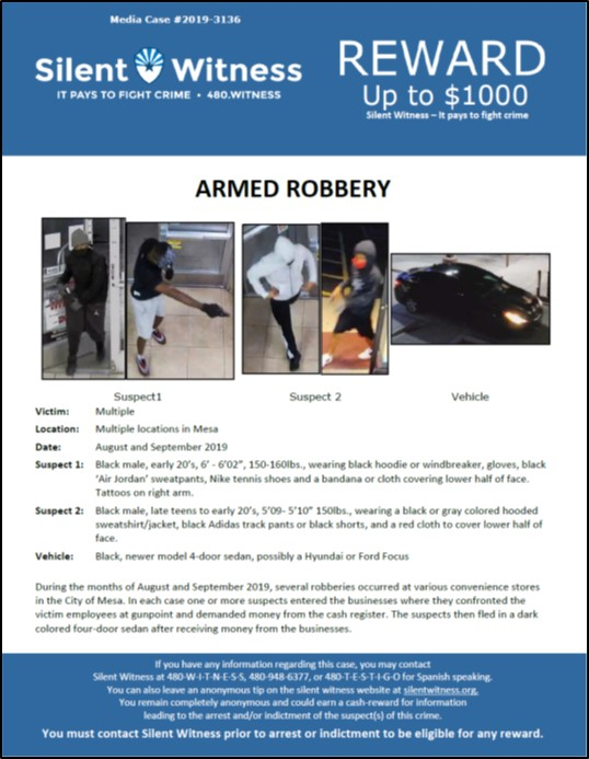 Armed Robberies / Multiple locations in Mesa