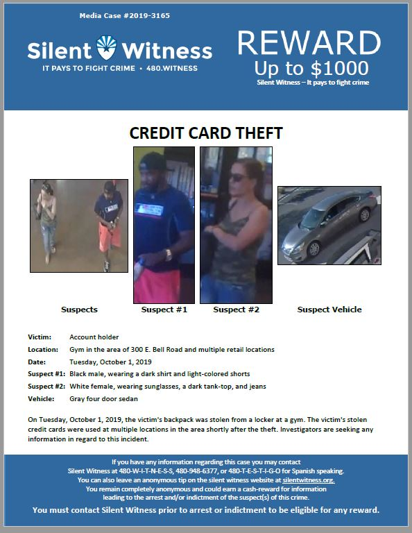 Credit Card Theft / Gym in the area of 300 E. Bell Road and multiple retail locations