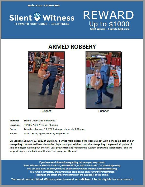 Armed Robbery / Home Depot / 4848 N 43rd Avenue, Phoenix