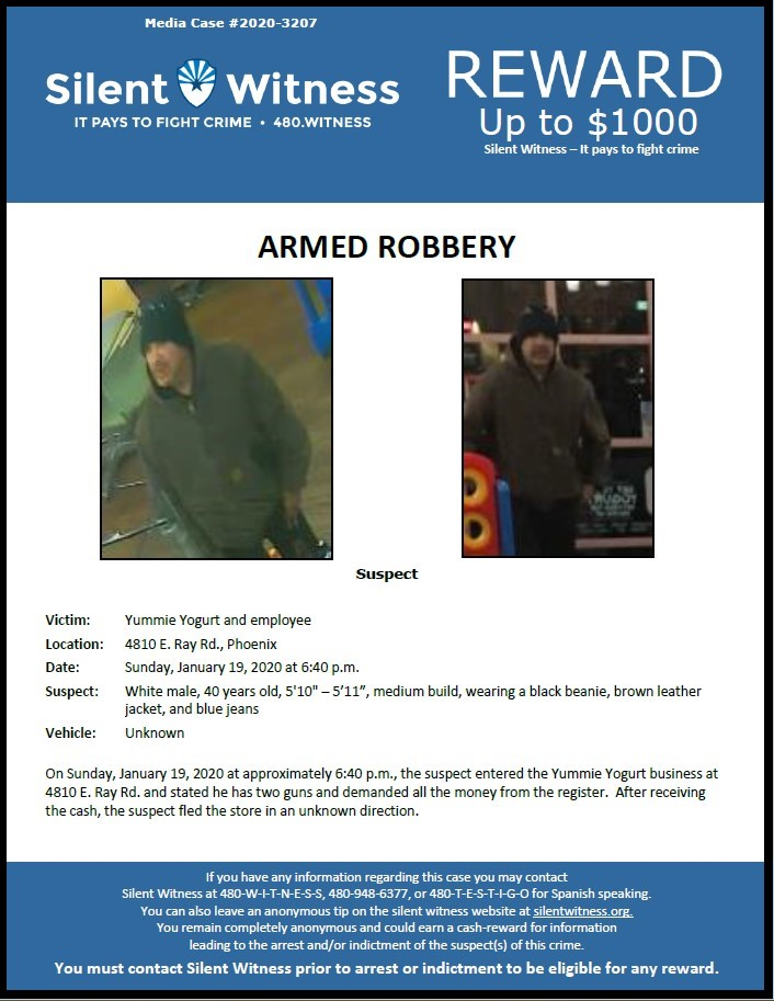 Armed Robbery / Yummie Yogurt 4810 E. Ray Rd. Phoenix
