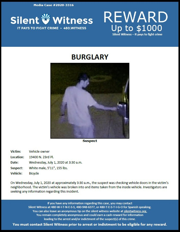 Burglary from vehicle / Area of 19400 N. 23rd Place, Phoenix