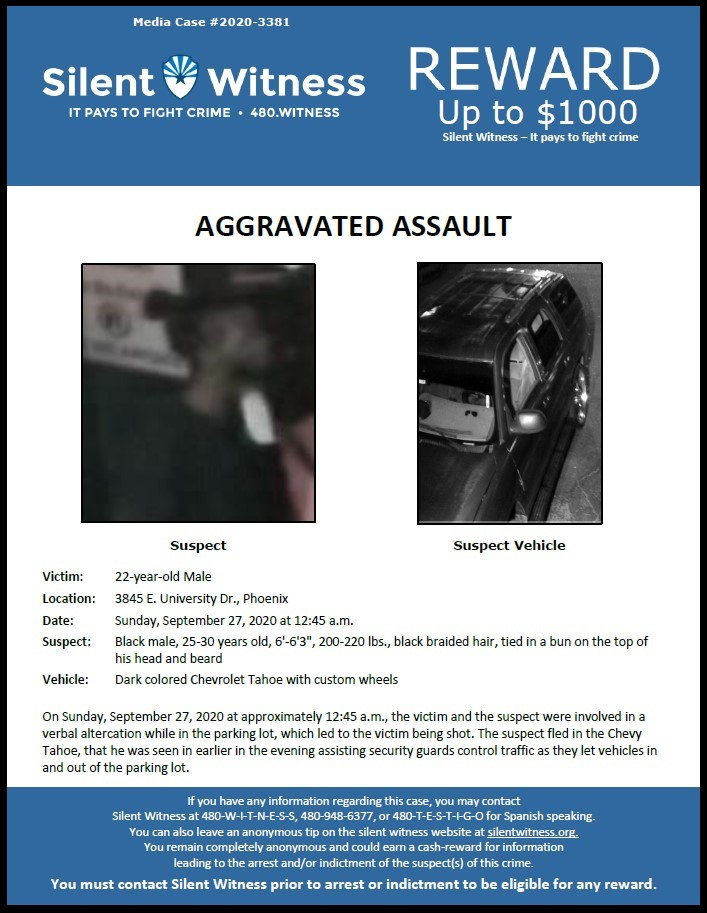 Aggravated Assault / 22-year-old male 3845 E. University Dr.