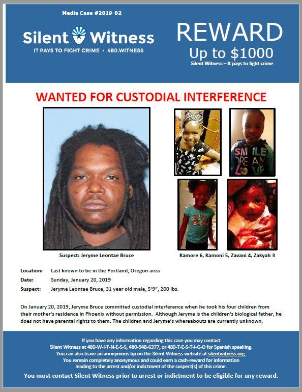 Jeryme Bruce / Custodial Interference / Phoenix, AZ and Portland, OR
