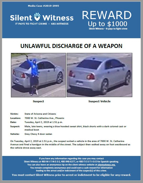 Unlawful Discharge of a Weapon / 7000 W. St. Catherine Ave., Phoenix