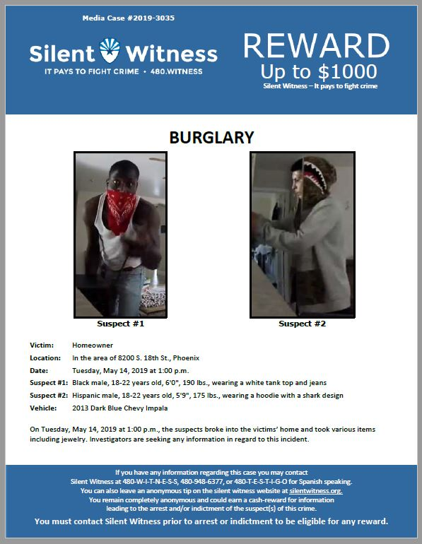 Residential Burglary / In the area of 8200 S. 18th St., Phoenix