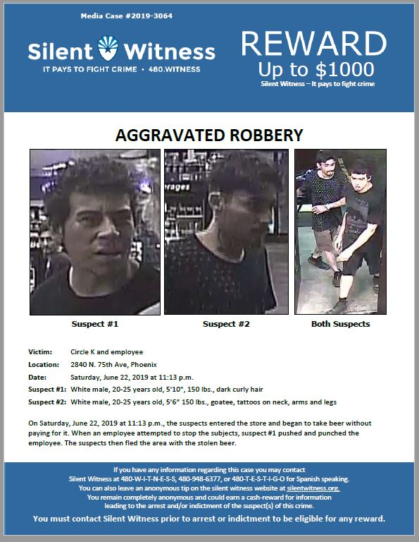 Aggravated Robbery / Circle K 2840 N  75th Ave – Silent Witness