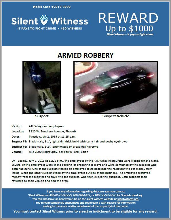 Armed Robbery / ATL Wings / 3320 W. Southern Avenue, Phoenix