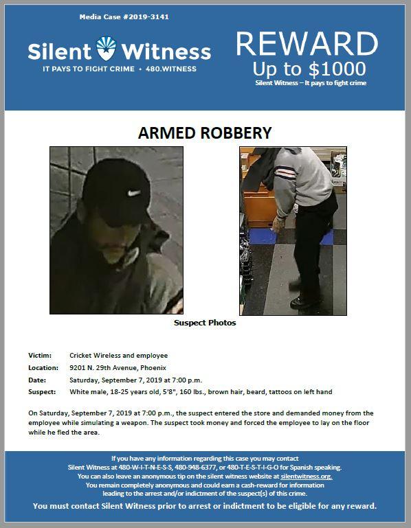 Armed Robbery / Cricket Wireless / 9201 N. 29th Avenue, Phoenix