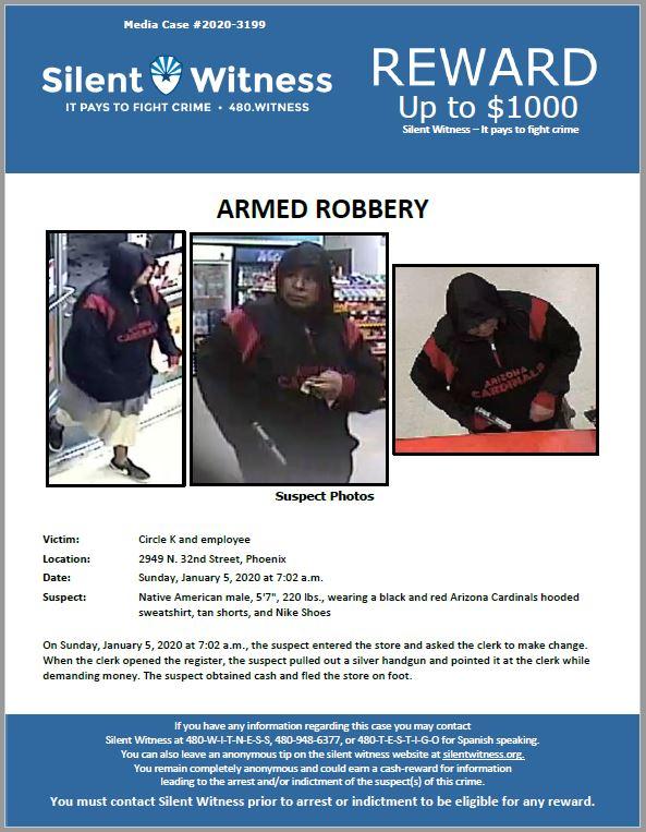 Armed Robbery / Circle K / 2949 N. 32nd Street, Phoenix