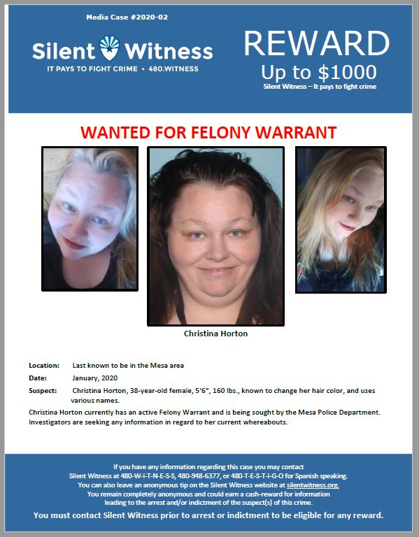 Christina Horton / Last known to be in the Mesa area