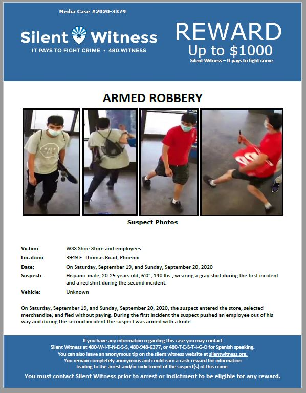 Armed Robbery / WSS Shoe Store / 3949 E. Thomas Road, Phoenix